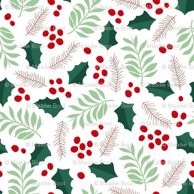 Botanical christmas garden pine leaves holly branch berries green red jumbo