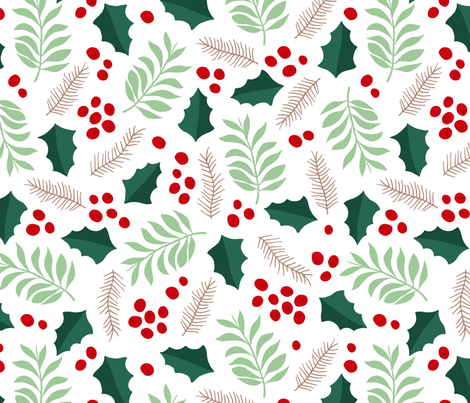 Botanical christmas garden pine leaves holly branch berries green red jumbo fabric by littlesmilemakers on Spoonflower - custom fabric