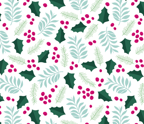 Botanical christmas garden pine leaves holly branch berries blue pink jumbo fabric by littlesmilemakers on Spoonflower - custom fabric