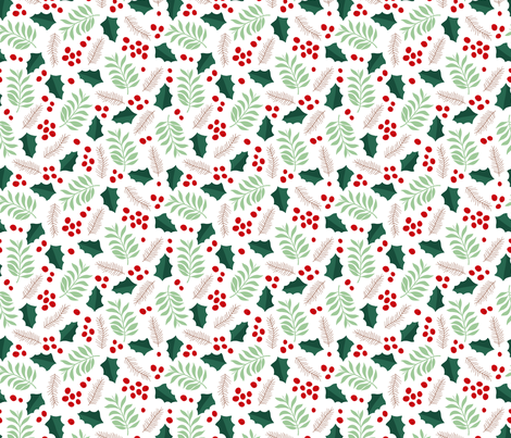 Botanical christmas garden pine leaves holly branch berries green red fabric by littlesmilemakers on Spoonflower - custom fabric