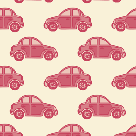 Cars in #c5405b fabric by anniedeb on Spoonflower - custom fabric