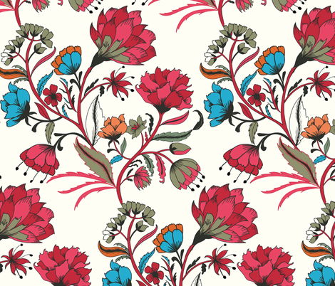 Indian Floral - hand drawn fabric by jill_o_connor on Spoonflower - custom fabric