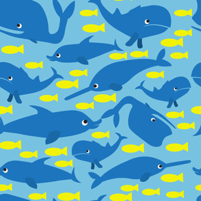 Ocean animals. Yellow and blue.