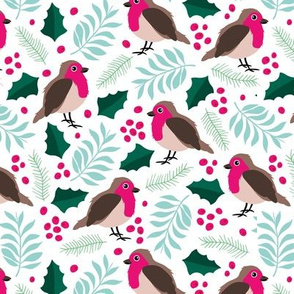 Botanical christmas garden robin birds pine leaves holly branch berries blue pink