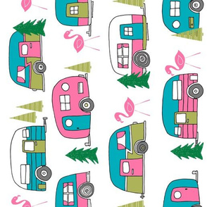 vintage camper (RR large scale) // retro vintage campers cute pink and white flamingo retro road trip