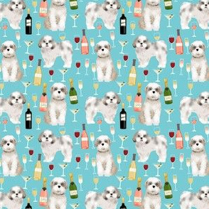 Shih tzu (smaller scale ) dog fabric - wine and dogs design - blue