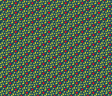 Diamond Cherry Lattice Teal and Red fabric by amytraylor on Spoonflower - custom fabric