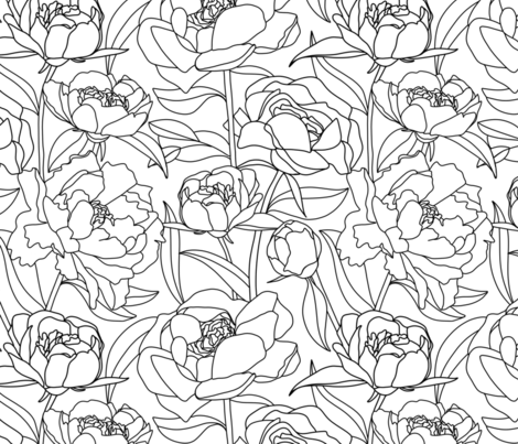 Peony contour line drawing fabric by new_branch_studio on Spoonflower - custom fabric