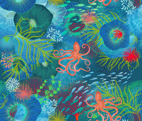 Aquatic Dance  fabric by honoluludesign on Spoonflower - custom fabric
