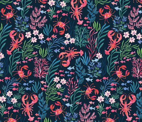 Lobster and Crab Floral fabric by jill_o_connor on Spoonflower - custom fabric