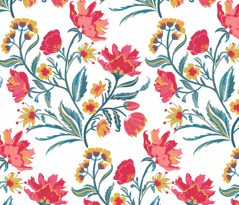 Painted Indian Floral fabric by jill_o_connor on Spoonflower - custom fabric