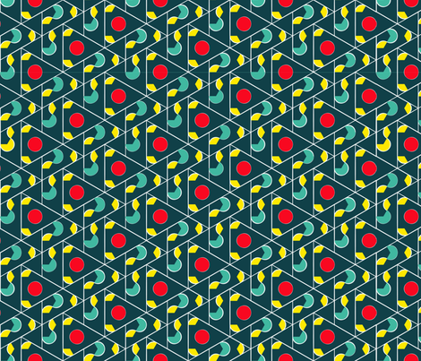 Diamond Cherry Lattice Teal Red Yellow fabric by amytraylor on Spoonflower - custom fabric