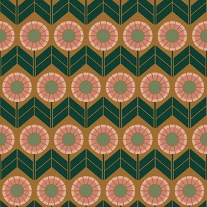 Chevron Dark Green & Pink Geometric Flowers