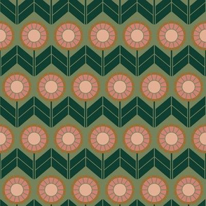 Chevron Dark Green & Pink Geometric Flowers