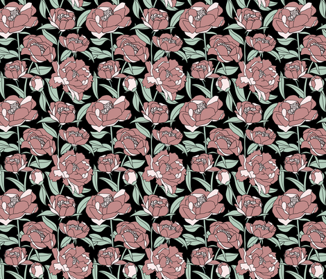Pink peonies on black background fabric by new_branch_studio on Spoonflower - custom fabric