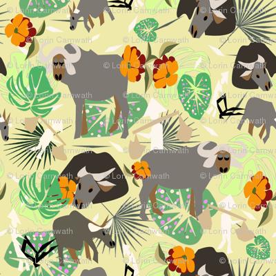 waterbuffalo family2 yellow