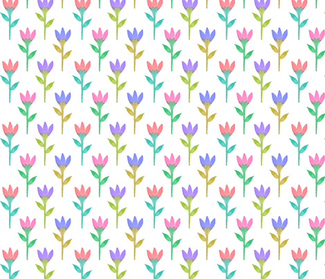 tulip watercolor fabric by indigo_iris on Spoonflower - custom fabric