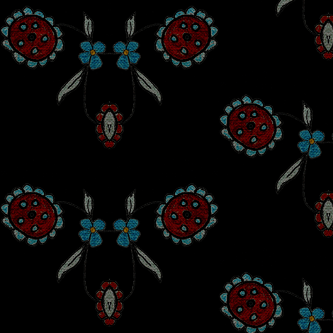 Bobbin Flowers on Black fabric by sowgoodgreta on Spoonflower - custom fabric