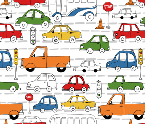 Busy Traffic Pattern fabric by latheandquill on Spoonflower - custom fabric