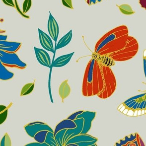 Passion flowers and butterflies - Cloisonne on  grey