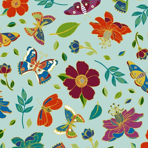 Passion flowers and butterflies - Cloisonne on  sky blue