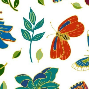 Passion flowers and butterflies - Cloisonne on  white
