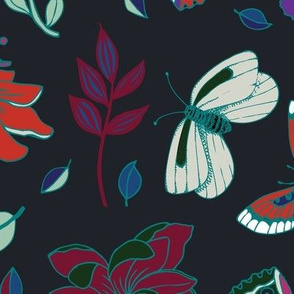 Passion flowers and butterflies - red and teal on black