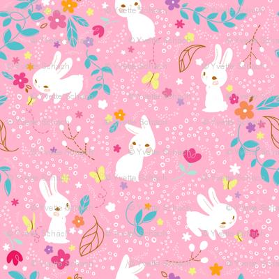 Spring Bunnies Pink - Larger Print