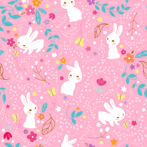 Spring Bunnies Pink - Larger Print fabric by sweetsurprises on Spoonflower - custom fabric