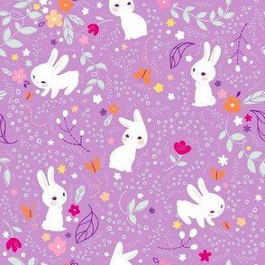 Spring Bunnies Purple- Larger Print