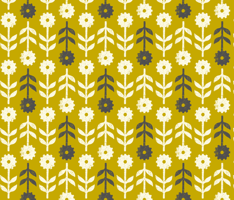 Ground squirrel flowers gold fabric by meduzy on Spoonflower - custom fabric