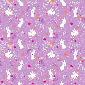 Spring Bunnies Purple - Smaller Print