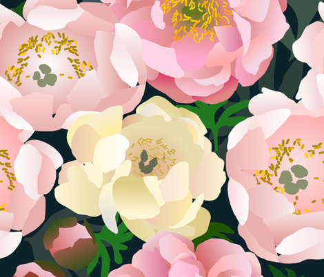 Pink Peonies fabric by amy_maccready on Spoonflower - custom fabric