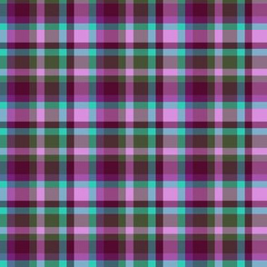 BNS2 -  Tartan Plaid in Purple, Turquoise, Lilac Pink and Olive Green