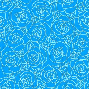 Dense Rose Line Art Light Blue