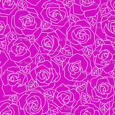 Dense Rose Line Art Magenta
