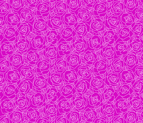 Dense Rose Line Art Magenta fabric by tacoinou on Spoonflower - custom fabric