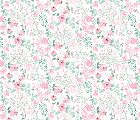Pink Peonies Watercolor Florals fabric by sobonnydesigns on Spoonflower - custom fabric