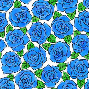 Dense Rose Watercolor Blue