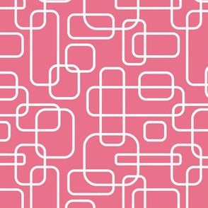 Rounded Rectangles - white on pink