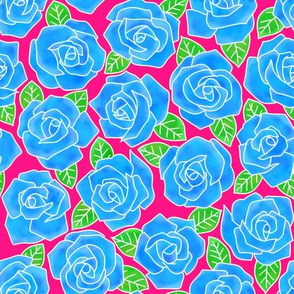 Dense Rose Watercolor Blue   Pink Background