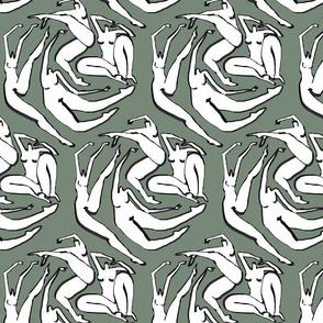 Floating Women Hexagon Olive Green