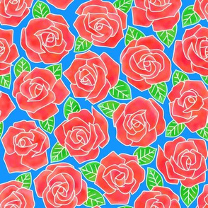 Dense Rose Watercolor Red   Blue Background