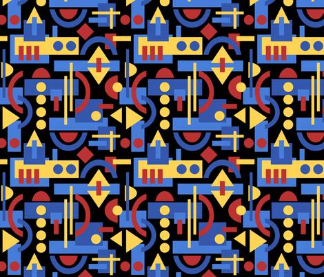 Bauhaus Inspired Geometric on Black fabric by inklaura on Spoonflower - custom fabric