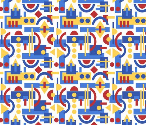 Bauhaus inspired geometric on White fabric by inklaura on Spoonflower - custom fabric