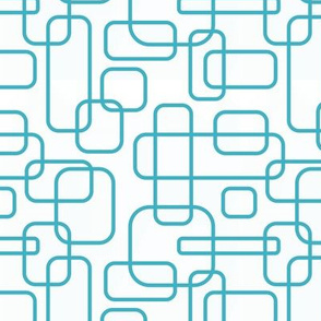Rounded Rectangles - turquoise on white