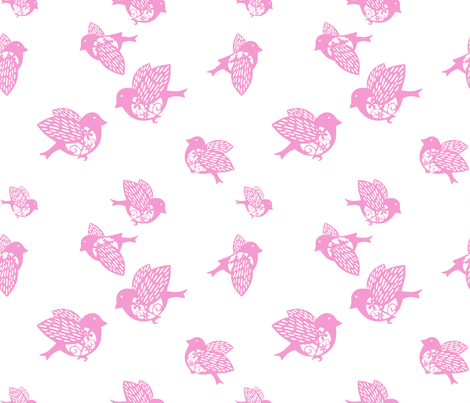 Sparrow pink02 002150 fabric by chicca_besso on Spoonflower - custom fabric