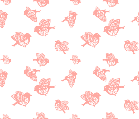Sparrow pink02 150 fabric by chicca_besso on Spoonflower - custom fabric