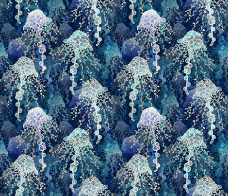Jellyfish in deep blue fabric by pearlposition on Spoonflower - custom fabric