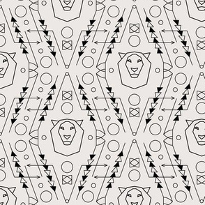 Tribal Geometric Pattern with Lion